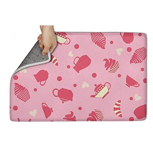 Yiastia_Minyi Indoor Outdoor Doormat Pink Cupcakes Tea Cups Party Absorbent Moisture PVC Backing Entrance Rug Non Slip Door Mat -