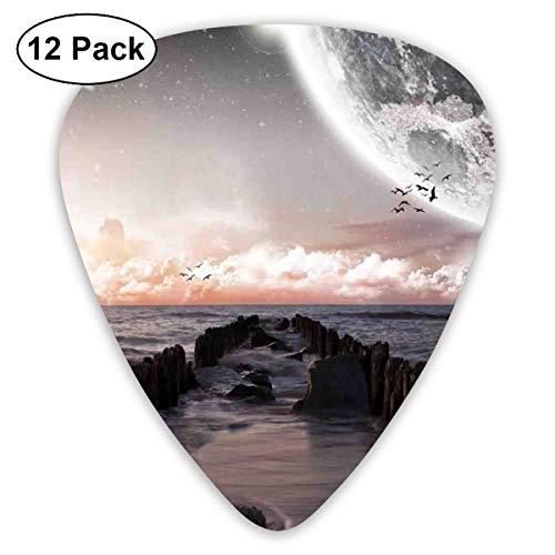 Guitar Picks 12-Pack,Moon Fantasy Planet Beach With Old Pier With Sea Waves Fiction Eclipse Sky Landscape ()