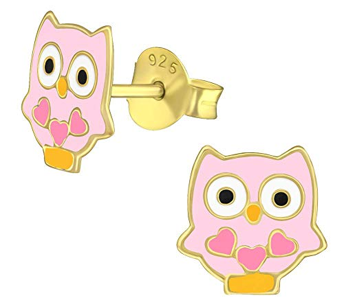 - Hypoallergenic Sterling Silver Owl with Hearts Stud Earrings for Kids (14k GP/Pink)