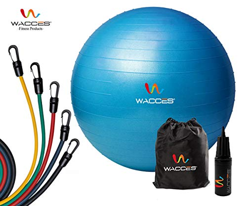 Wacces Professional Exercise, Stability Yoga Ball & 5 - Level Latex Tube Variable Resistance Band Set (Blue Ball)