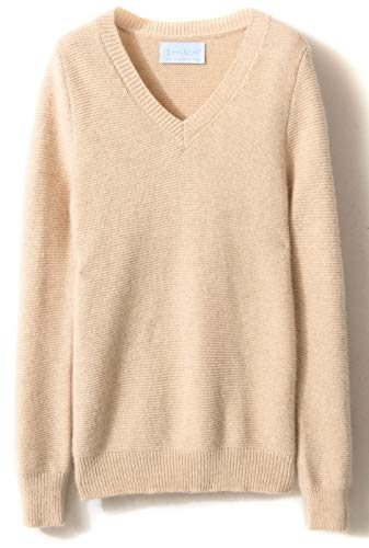 Beige Cashmere Sweater (LONGMING Women's Winter Cashmere Knitted Long Sleeve Warm Wool Pullover V-Neck Sweater (S, Beige))