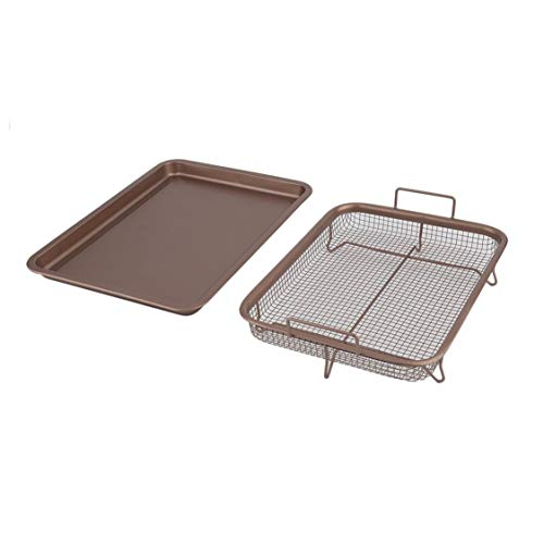 Copper Food Mold - 13 Inch Food Copper Plated Rectangle Crispy French Chef Tray Household Kitchen Cooking Basket Baking Pan BBQ Barbecue Tray - Coffee Color