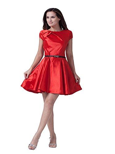 Angel Formal Dresses Women's Jewel Knee Length Taffeta Prom Dress with Belt (8)