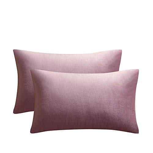 (JUSPURBET Pink Purple Velvet Pillow Covers 12x20 Inches,Pack of 2 Throw Pillow Covers for Sofa Couch Bed,Decorative Super Soft Throw Pillows Cases)