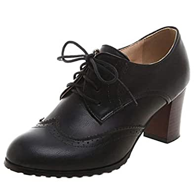Melady Women Classic Block Mid Heels Oxford Shoes Lace Up High Top Brogue Office School Costume Shoes Black Size 34