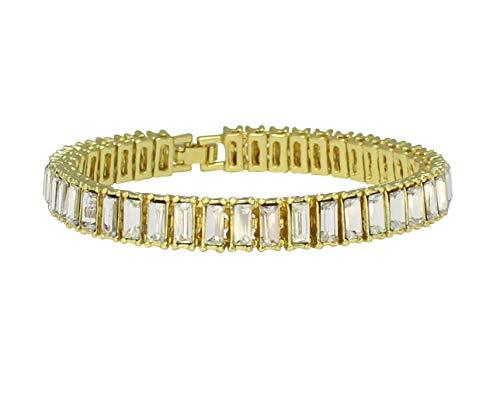 NewAgeBling 1 Row Baguette Simulated Diamond Tennis Bracelet 14k Gold Plated 8.5 - Bracelet Tennis Baguette