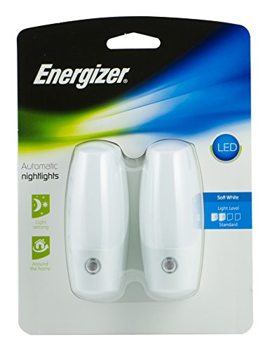 Energizer Automatic Nightlights, 2 Pack, Soft White, Light Sensing, On at Dusk, Off at Dawn, for Kids, Energy Efficient LED, for Hallway, Bedroom, Staircase, Bathroom, 37101