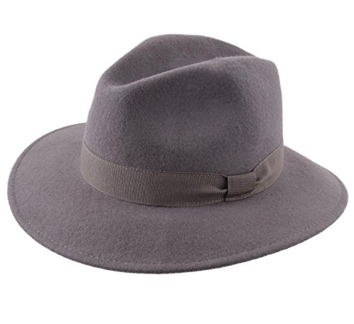 ac656d84079 Modissima Traveller Cavalier Wool Felt Fedora Hat Size 59 Cm Gray