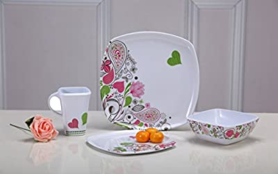Cute Kitchenware Melamine Plates Set of 4 - 2 Plates, 1 Bowl & 1 Mug... Beautiful Design