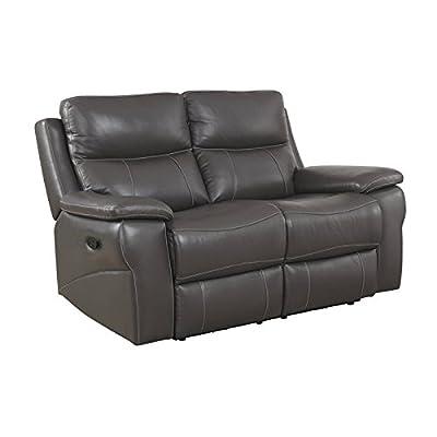 Furniture of America Soron Modern Reclining Loveseat in Gray