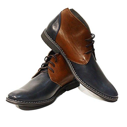 Modello Marcello - Handgemachtes Italienisch Leder Herren Navy blau Stiefeletten Chukka Stiefel - Rindsleder Weiches Leder - Schnüren