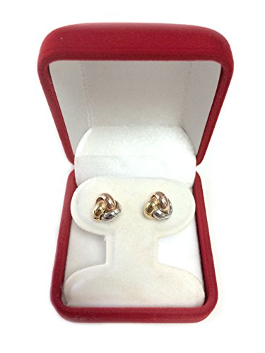 14k Tricolor Yellow White And Rose Gold Shiny Love Knot Stud Earrings, 9mm by JewelryAffairs (Image #3)