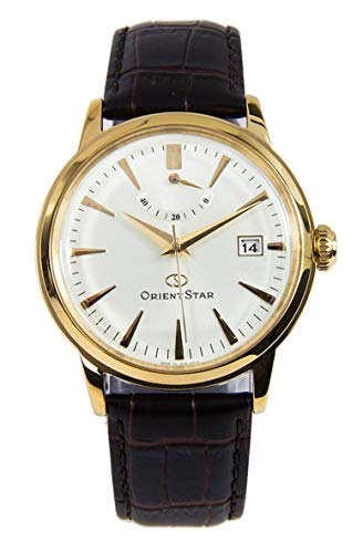 (Orient Star SAF02001S Men's Classic Leather Band Gold Dial Power Reserve Automatic Watch)