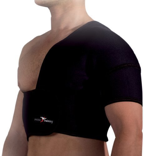 Precision Training Neoprene Half Shoulder Support (Left) - Black/Red, large by Precision Training