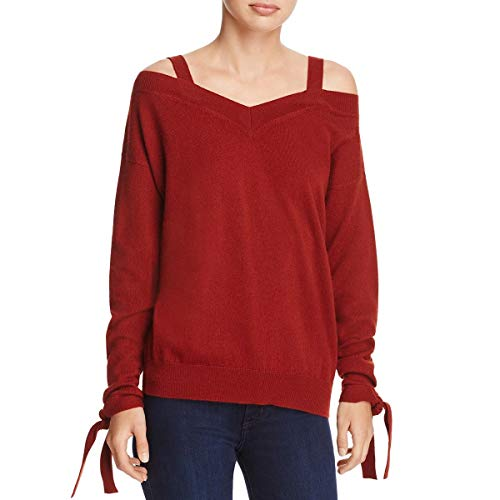 (Theory Womens Cashmere Off-The-Shoulder Pullover Sweater Red L)