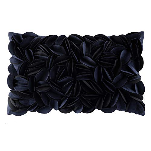 Navy Living Room - KingRose Handmade 3D Flower Home Decorative Throw Pillow Case Soft Rectanle Cushion Cover 12 x 20 Inches for Sofa Living Room Bed Navy Blue