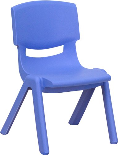 "Flash Furniture Blue Plastic Stackable School Chair with 10.5"" Seat Height"