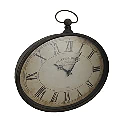 Metal Wall Clocks Oval Pocket Watch Style Distressed Finish Wall Clock 16.5 X 16.5 X 2 Inches Brown