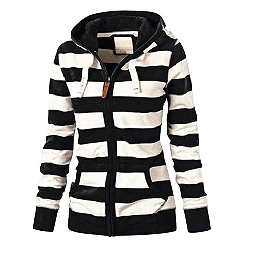 NEARTIME Womens Plus Size Coat, New Ladies Striped Zipper Hooded Sweatshirt Winter Slim Pocket Jacket -