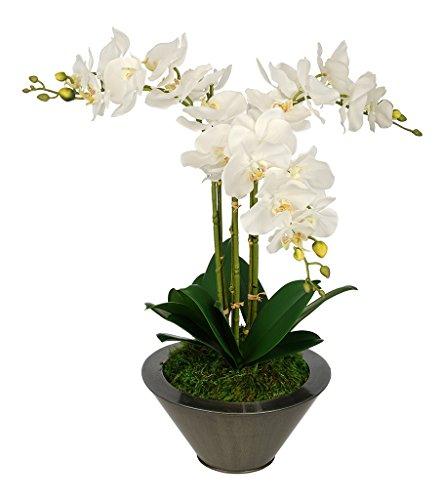 Artificial White Triple Stem Orchid in Round Zinc Vase (Gunmetal)