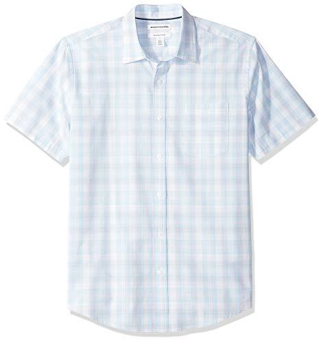 Amazon Essentials Men's Regular-Fit Short-Sleeve Plaid Casual Poplin Shirt, Light Blue/White, XX-Large