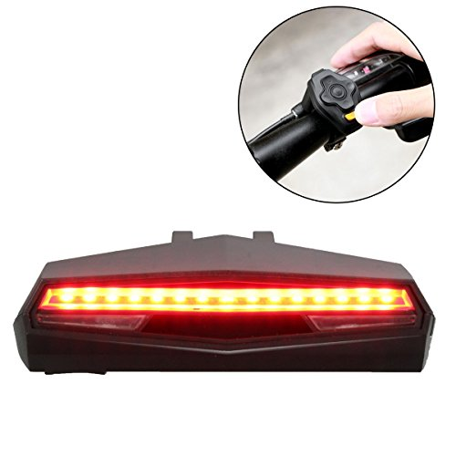 OUTERDO USB Rechargeable Bike Tail Light Wireless Remote Control Waterproof LED Ultra Bright Laser Rear Light