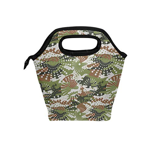 (Women's Reusable Portable Lunch Tote Green Digital Camo Tactical Durable Insulated Lunch Bag Lightweight Organizer Lunch Holder Lunch Container Cooler Handbag for Men)
