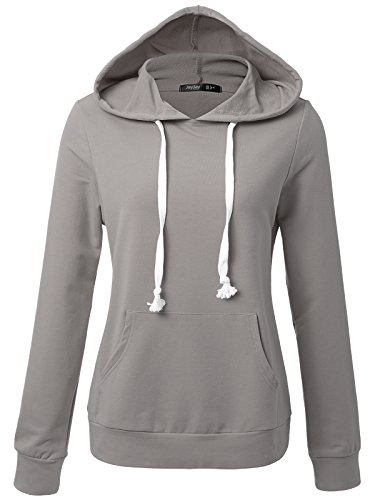 JayJay Women Long Sleeve Lightweight Casual Pullover Hoodie Sweatshirts With Kangaroo Pocket,MISTGRAY,S