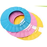 3pcs Soft Adjustable Shampoo Bath Bathing Shower Cap Hat Wash Hair Shield Hat for Baby Kids Children Color Random