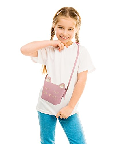 Deoot Little Girls Purses Pink Cute Cat Shoulder Crossbody Bag for Kids,Toddler,Girls