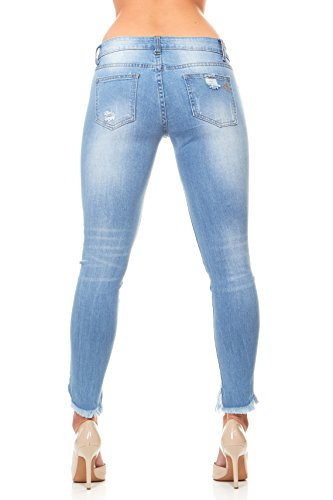 V.I.P. JEANS Ripped and Distressed Frayed Hem Skinny Stretch Jeans Plus Size 16 / Light Blue by V.I.P. JEANS (Image #3)