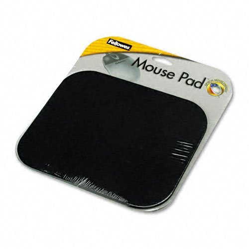 Fellowes : Polyester Mouse Pad, Nonskid Rubber Base, 9 x 8, Black -:- Sold as 2 Packs of - 1 - / - Total of 2 Each ()