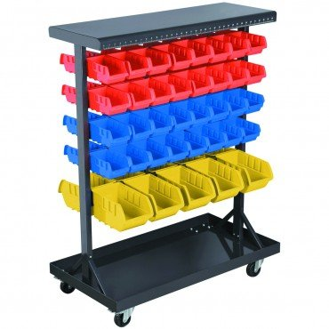 Mobile Double-Sided Floor Rack 36 x 12 x 45 with 74 Bins and Non-Marking Swivel Casters