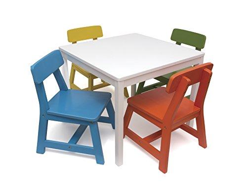 Lipper International 585MC Child's Square Table and 4 Chair Set, Multi-Color by Lipper International