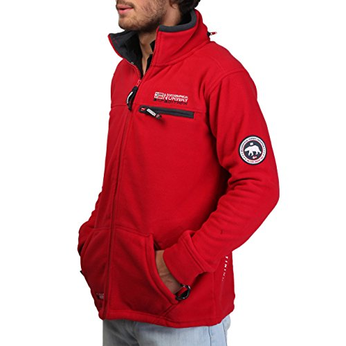GEOGRAPHICAL NORWAY UNDERTAKER Herren Fleece Jacke, Outdoor Fleecejacke, Gr. M, Rot