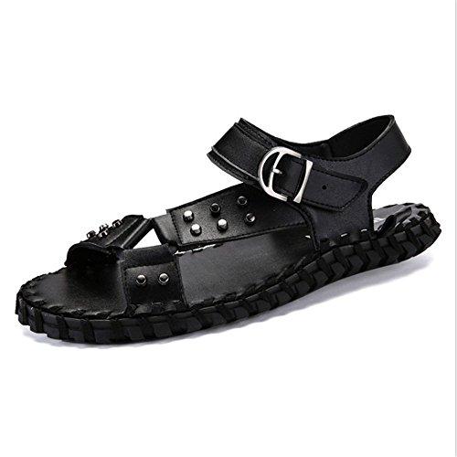 Comfort Nero In Colore Nero 24 Comfort pantofole Scarpe Dimensione 27 Sandali Da EU 40 3 Wagsiyi Traspirante spiaggia CM Uomo 2 5 0 Antiscivolo da Pelle qXEw48Uv