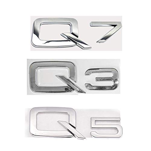 Cacys-Store - 3D Metal Silver Rear Trunk Letters Grille Head Decal Chrome Badge Emblem Sticker Car Sticker For Audi Q3 Q5 Q7 Car-Styling