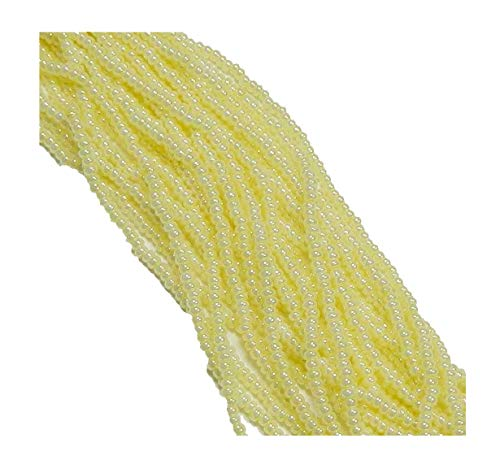 Yellow Ceylon Pearl Czech 6/0 Seed Bead on Loose Strung 6 String Hank Approx 900 -