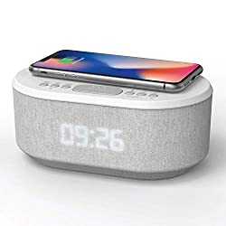 Dawn: Bedside Radio Alarm Clock with USB Charger, Bluetooth Speaker, QI Wireless Charging, Dual Alarm & Dimmable LED Display