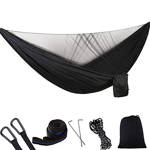 1/2 Person Camping Hammock with Mosquito/Bug Net, Single &Double Hammock Lightweight Portable Parachute Nylon Hammock for Camping, Backpacking, Survival,Travel & More (290140cm/Black)