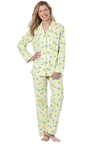 (PajamaGram PJ Sets for Women - Soft Cotton Pajamas Women, Yellow, Large / 14-16 )