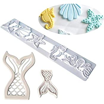 3pcs The Easiest Sea Life Cookie Cutter Set Mermaid Tail Starfish Seahorse Seashell Octopus Fish Fondant Cutters Cake Decoration Cupcake Topper
