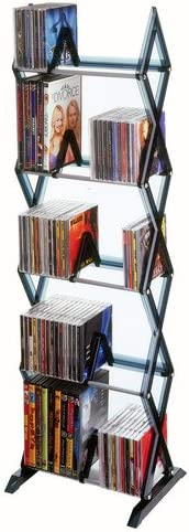 Atlantic Mitsu 5-Tier Media Rack - 130 CD or 90 DVD/BluRay/Games in a Space Saving, Customizable Clear Smoke Finish, PN64835195