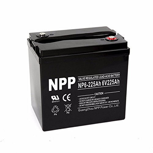 NPP 6V 225 Amp NP6 225Ah AGM Deep Cycle Battery Camper Golf Cart RV Boat Solar Wind Power by NPP