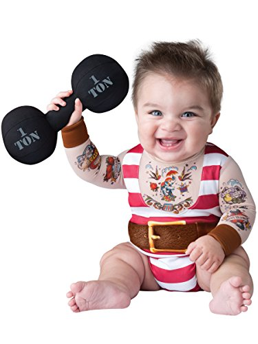 InCharacter Costumes Baby Boys' Silly Strongman Costume, Red/White, X-Small