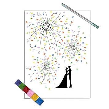 EQLEF® Gästebuch Hochzeit Weiß Schöne Feuerwerks Kreative Hochzeit  Dekoration Personalisierte Gästebuch Hochzeit Deko   Süßes