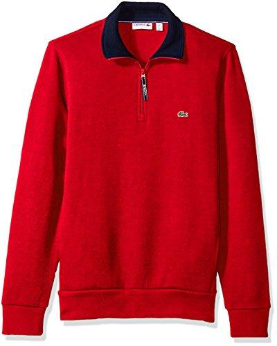 Lacoste Men's Rib Interlock 1/2 Zip Sweatshirt, SH1925-51, Red/Navy Blue, XL Shell Half Zip Mens Pullover