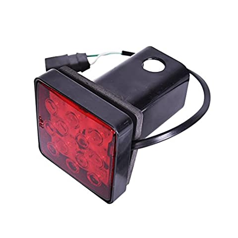 CZC AUTO Red Lens Trailer Hitch Cover With 12 LED Brake Light Fit 2