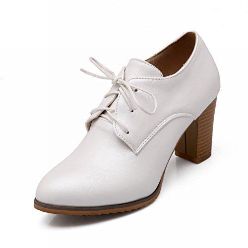 Carol Chaussures Chic Femmes Lace-up Mode Douce Élégance Chunky Haut Talon Oxfords Chaussures Blanc