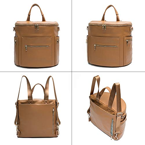 Brown Leather Diaper Bag Backpack by MF Store Diaper Backpack with Laptop Sleeve,Changing Pad,Wipes Pouch,Diaper Bag Organizer,Stroller Straps and Insulated Pockets